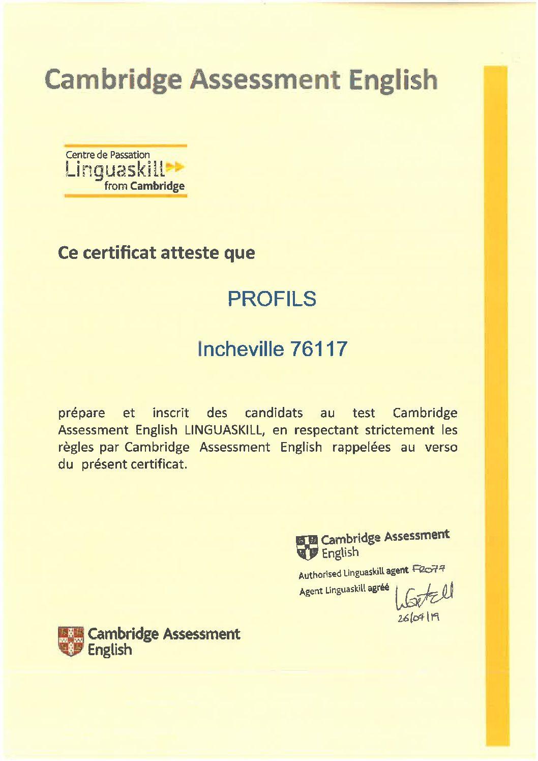Profils, centre testeur Linguaskill